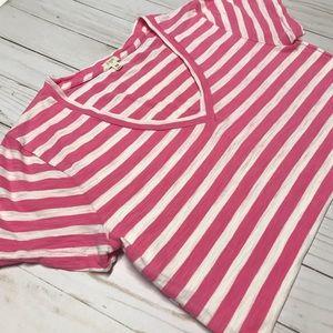 J. Crew Tops - J. Crew pink striped tee XS V-Neck